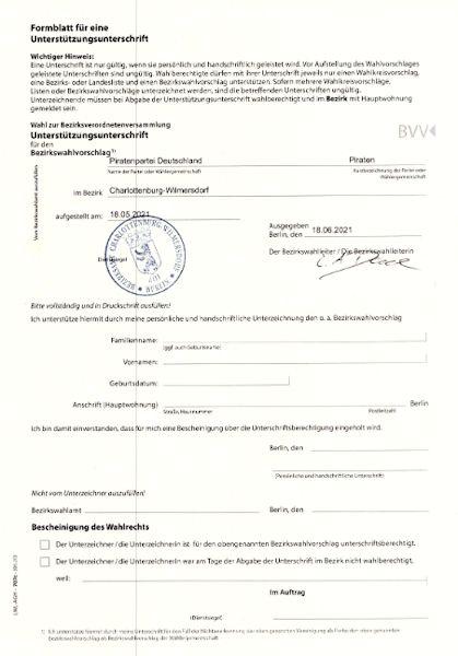 Link zum Unterstützungsunterschriftenformular für die BVV-Liste
